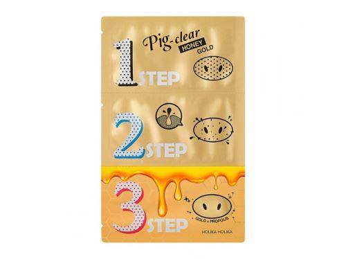 HolikaPigClear Black Head 3-step kit Honey Gold sada nápl. se zlatem pro odstr. č. teč.3ks
