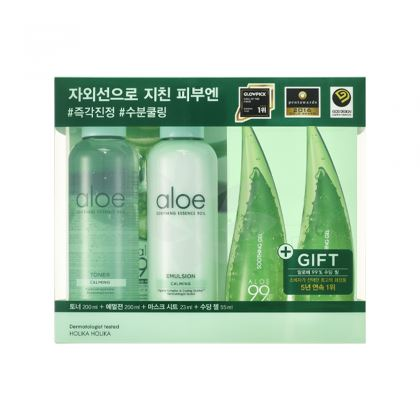 Holika Aloe Moisture Soothing Set hydratační set kosmetiky s aloe vera 4ks